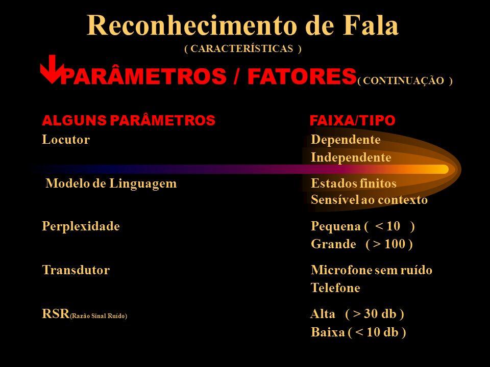 Reconhecimento de Fala ( CARACTERÍSTICAS ) PARÂMETROS / FATORES Os sistemas de reconhecimento de fala podem ser caracterizados por muitos parâmetros q