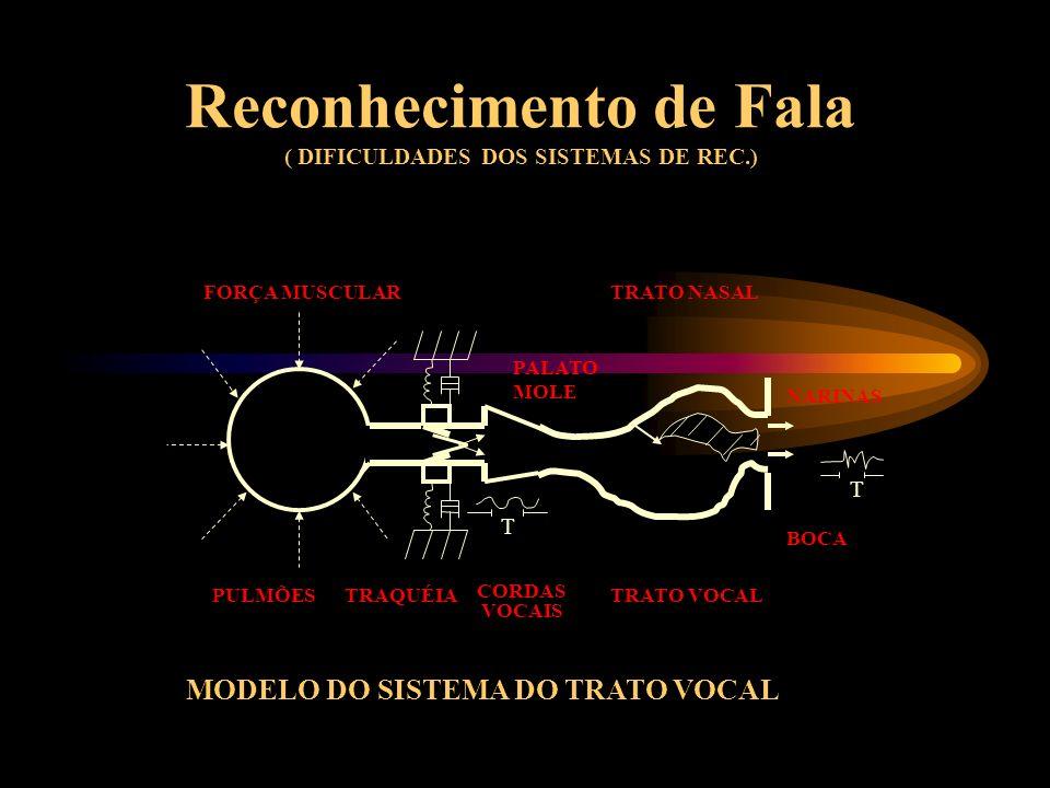 Reconhecimento de Fala ( DIFICULDADES DOS SISTEMAS DE REC.) FORÇA MUSCULAR T T NARINAS TRATO NASAL PULMÕES PALATO MOLE TRAQUÉIA CORDAS VOCAIS BOCA TRATO VOCAL MODELO DO SISTEMA DO TRATO VOCAL