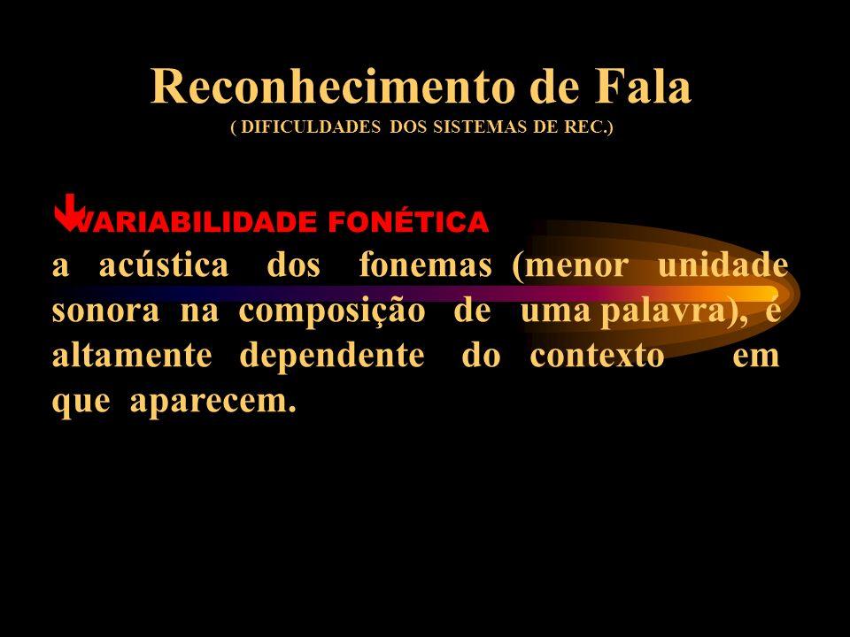 Reconhecimento de Fala ( DIFICULDADES DOS SISTEMAS DE REC.) VARIABILIDADE FONÉTICA a acústica dos fonemas (menor unidade sonora na composição de uma palavra), é altamente dependente do contexto em que aparecem.