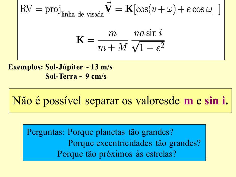 Não é possível separar os valoresde m e sin i. Exemplos: Sol-Júpiter ~ 13 m/s Sol-Terra ~ 9 cm/s Perguntas: Porque planetas tão grandes? Porque excent