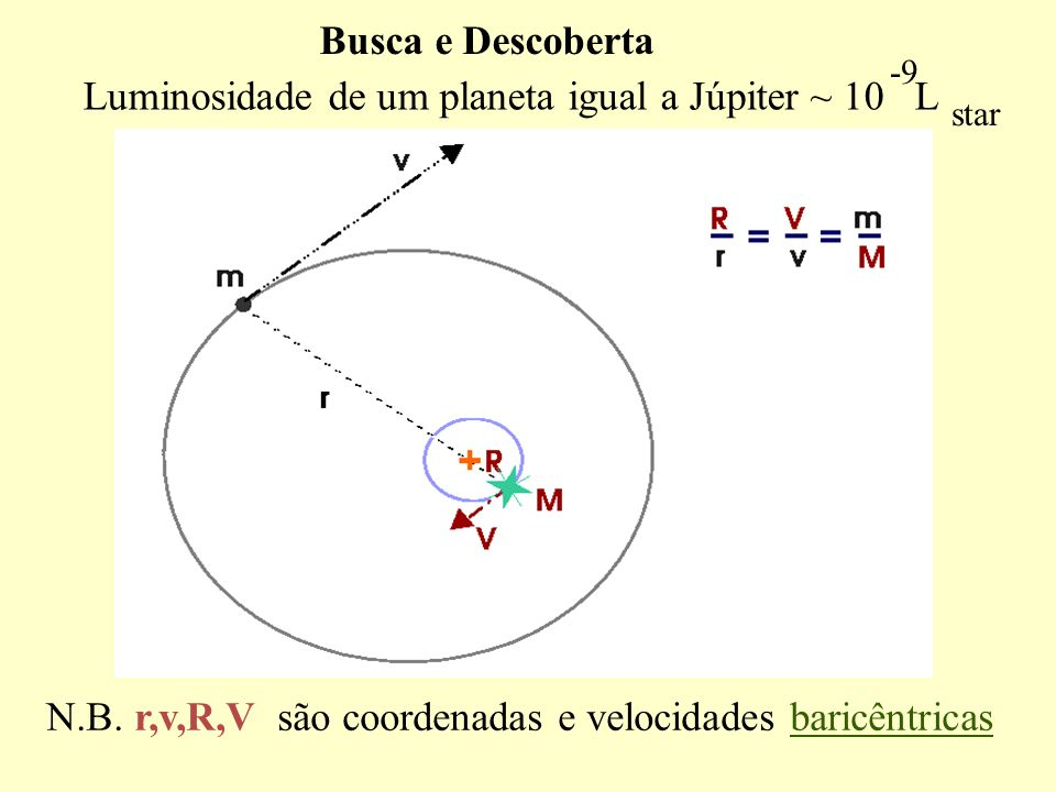 Busca e Descoberta -9 star N.B. r,v,R,V são coordenadas e velocidades baricêntricas Luminosidade de um planeta igual a Júpiter ~ 10 L