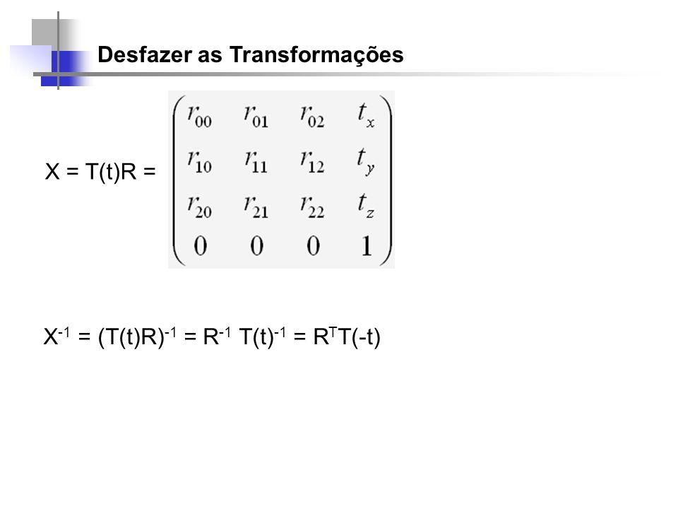 Desfazer as Transformações X = T(t)R = X -1 = (T(t)R) -1 = R -1 T(t) -1 = R T T(-t)