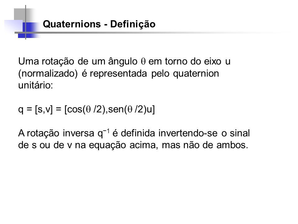 Quaternions - Definição Uma rotação de um ângulo em torno do eixo u (normalizado) é representada pelo quaternion unitário: q = [s,v] = [cos( /2),sen(