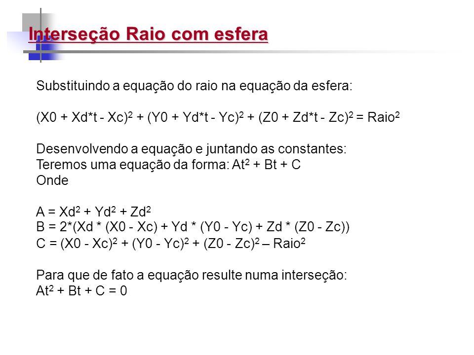 Interseção Raio com esfera Substituindo a equação do raio na equação da esfera: (X0 + Xd*t - Xc) 2 + (Y0 + Yd*t - Yc) 2 + (Z0 + Zd*t - Zc) 2 = Raio 2