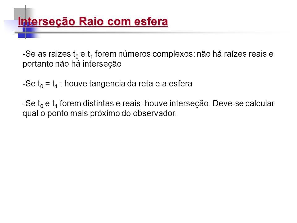Interseção Raio com esfera -Se as raizes t 0 e t 1 forem números complexos: não há raízes reais e portanto não há interseção -Se t 0 = t 1 : houve tan