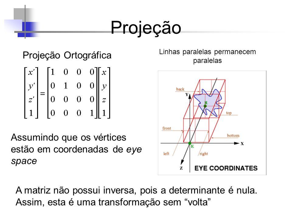 Projeção Projeção Ortográfica Assumindo que os vértices estão em coordenadas de eye space A matriz não possui inversa, pois a determinante é nula. Ass