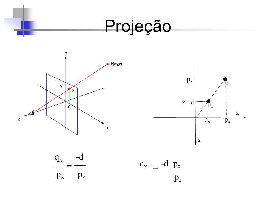 Projeção q z x p Z= -d pzpz qxqx pxpx q x -d p x p z = q x -d p x pzpz =