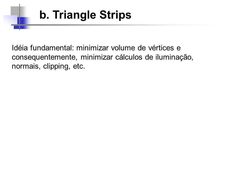 b. Triangle Strips Idéia fundamental: minimizar volume de vértices e consequentemente, minimizar cálculos de iluminação, normais, clipping, etc.