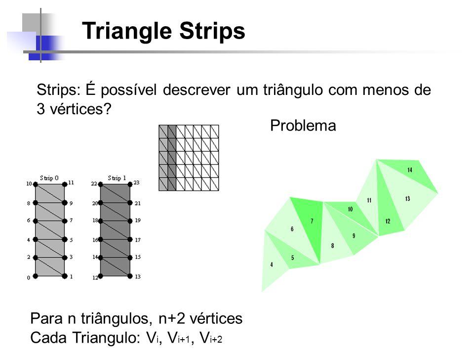 Triangle Strips Strips: É possível descrever um triângulo com menos de 3 vértices? Para n triângulos, n+2 vértices Cada Triangulo: V i, V i+1, V i+2 P