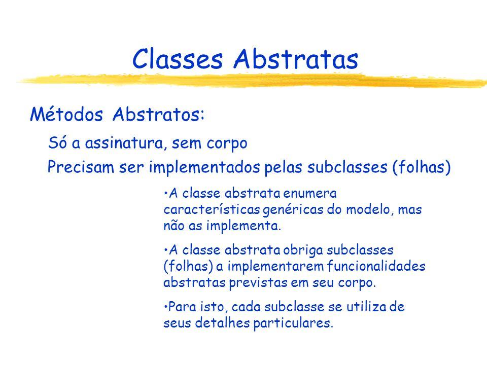 Classes Abstratas Métodos Abstratos: Só a assinatura, sem corpo Precisam ser implementados pelas subclasses (folhas) A classe abstrata enumera caracte