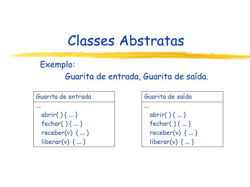 Classes Abstratas Exemplo: Guarita de entrada, Guarita de saída. Guarita de entrada... abrir( ) {... } fechar( ) {... } receber(v) {... } liberar(v) {