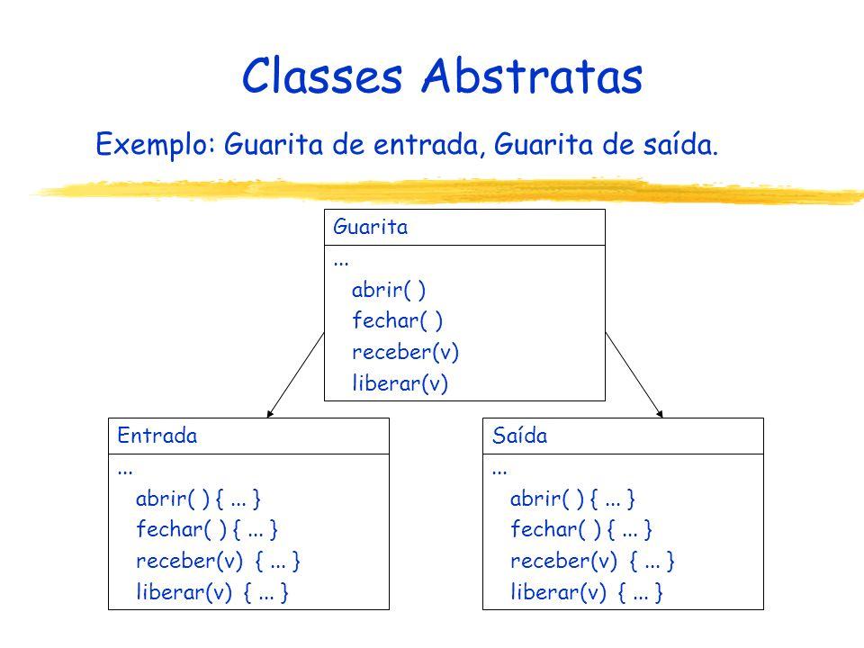 Classes Abstratas Exemplo: Guarita de entrada, Guarita de saída. Entrada... abrir( ) {... } fechar( ) {... } receber(v) {... } liberar(v) {... } Saída