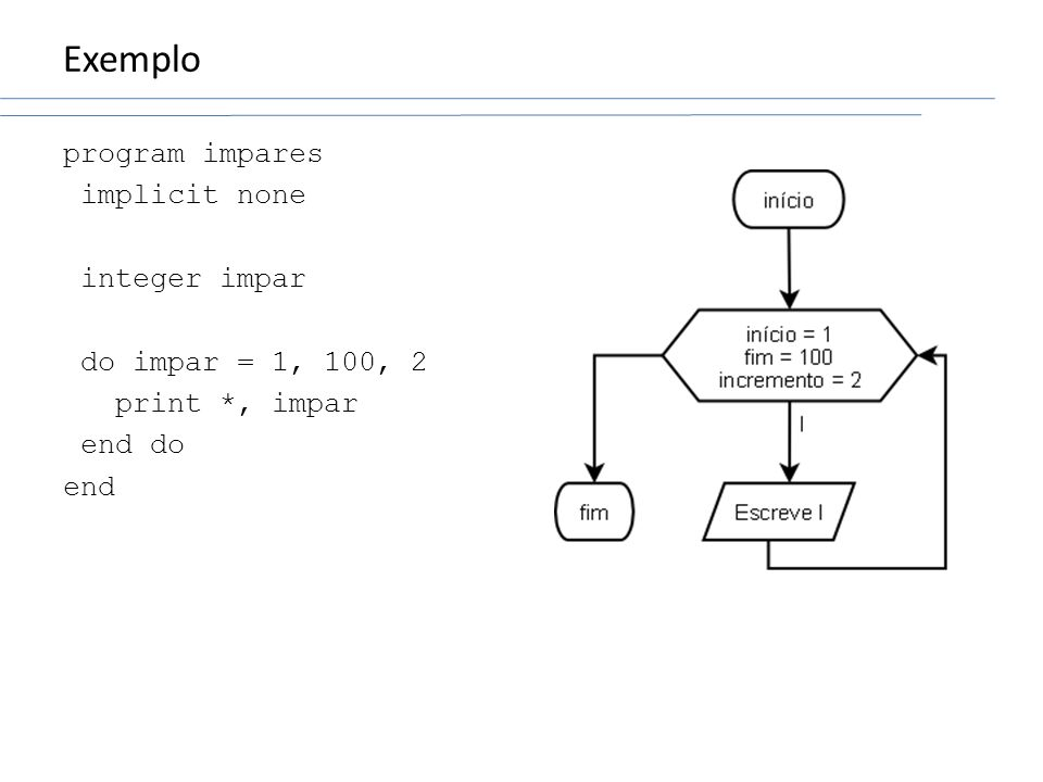 Exemplo program impares implicit none integer impar do impar = 1, 100, 2 print *, impar end do end