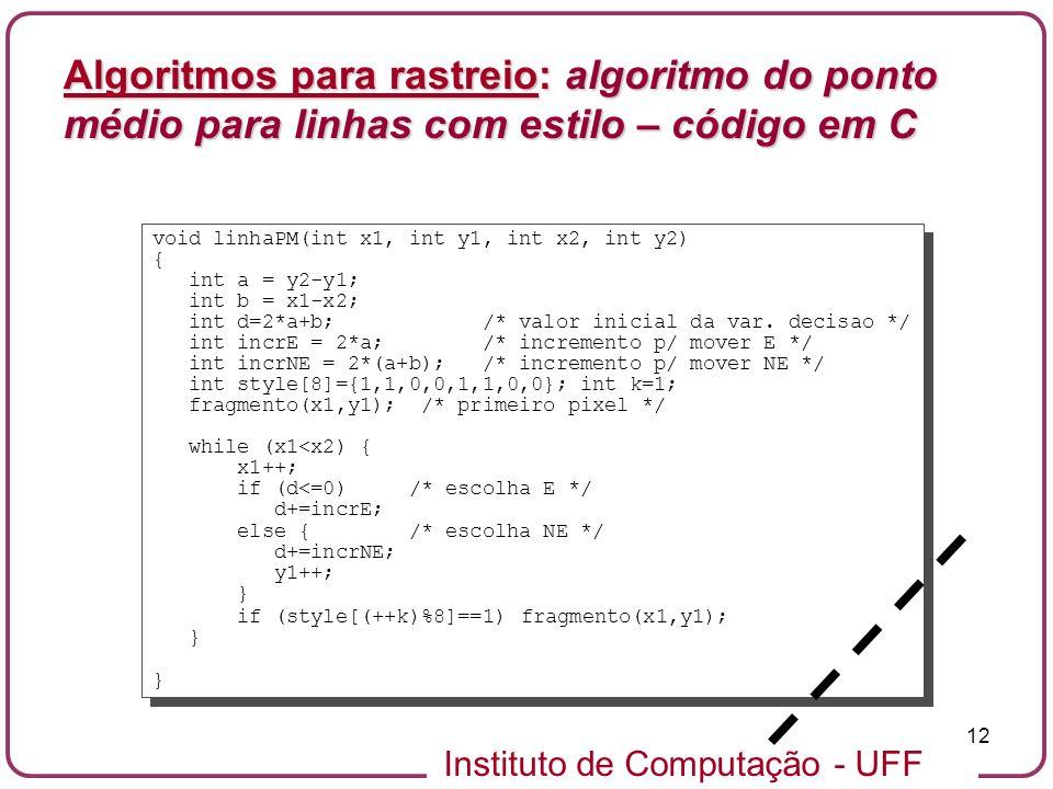 Instituto de Computação - UFF 12 void linhaPM(int x1, int y1, int x2, int y2) { int a = y2-y1; int b = x1-x2; int d=2*a+b; /* valor inicial da var. de