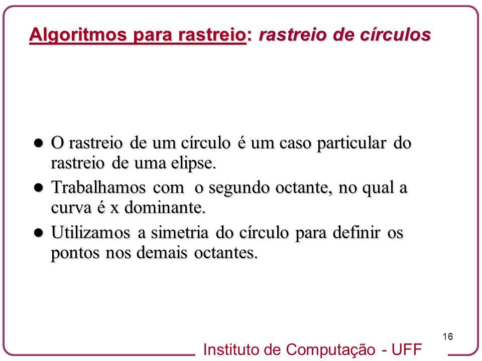 Instituto de Computação - UFF 16 O rastreio de um círculo é um caso particular do rastreio de uma elipse. O rastreio de um círculo é um caso particula