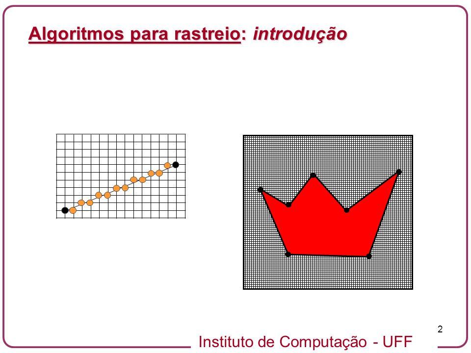 Instituto de Computação - UFF 2 Algoritmos para rastreio: introdução