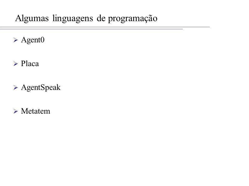 Algumas linguagens de programação Agent0 Placa AgentSpeak Metatem