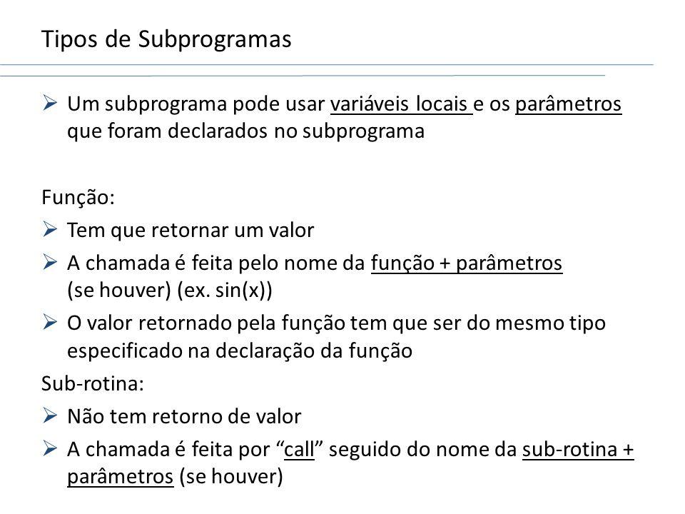 Tipos de Subprogramas Um subprograma pode usar variáveis locais e os parâmetros que foram declarados no subprograma Função: Tem que retornar um valor