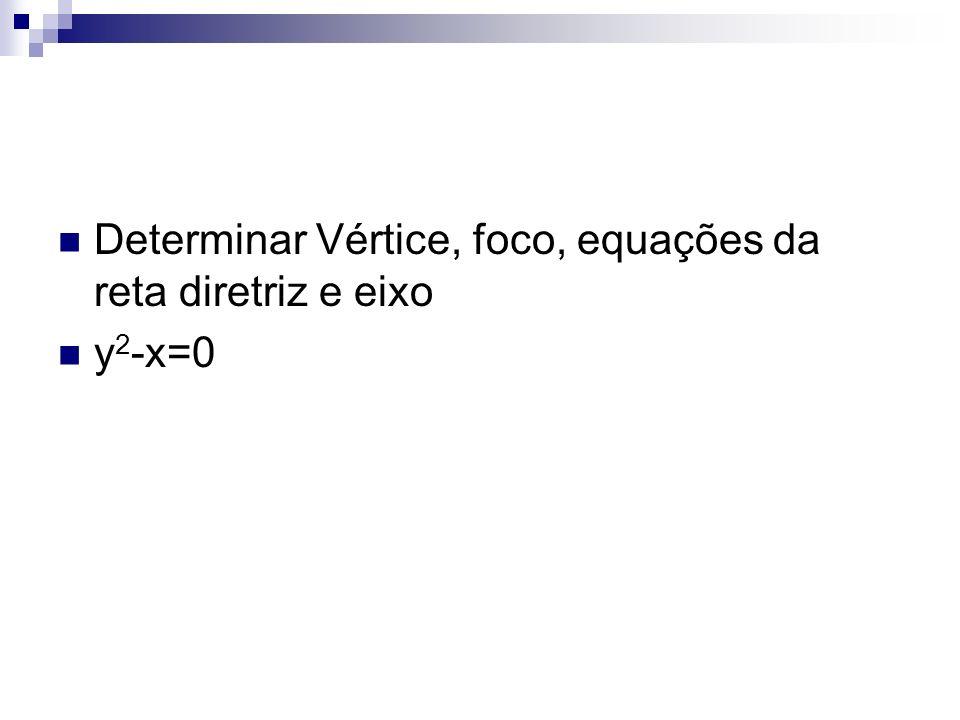 Determinar Vértice, foco, equações da reta diretriz e eixo y 2 -x=0