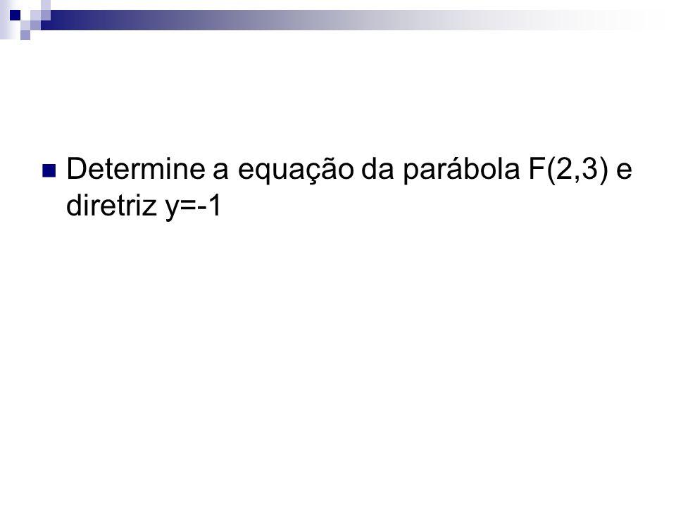 Determine a equação da parábola F(2,3) e diretriz y=-1