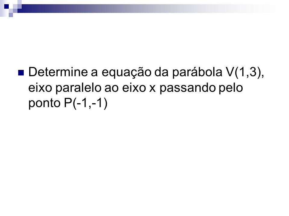 Determine a equação da parábola V(1,3), eixo paralelo ao eixo x passando pelo ponto P(-1,-1)
