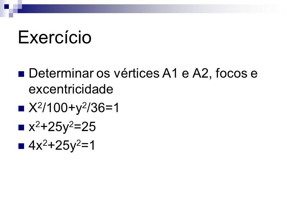 Exercício Determinar os vértices A1 e A2, focos e excentricidade X 2 /100+y 2 /36=1 x 2 +25y 2 =25 4x 2 +25y 2 =1