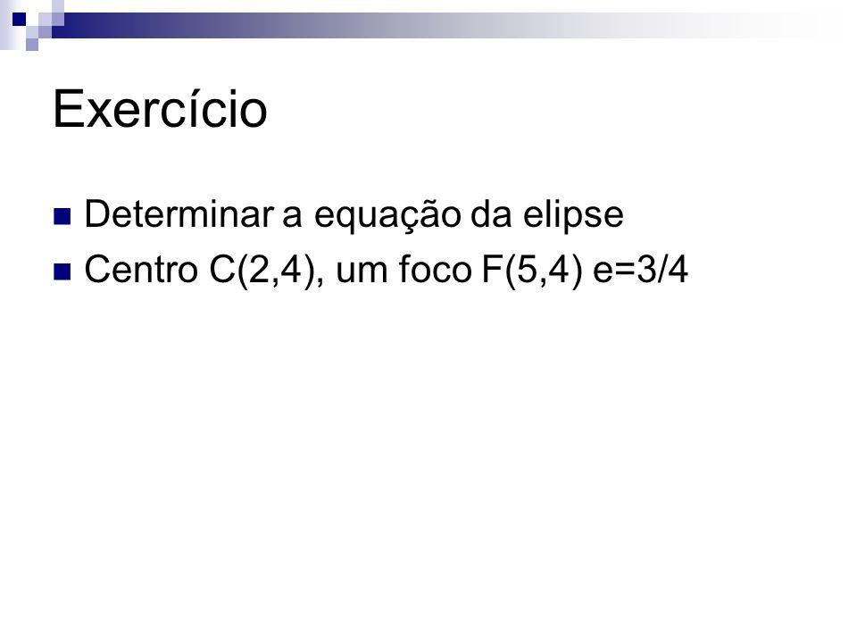 Exercício Determinar a equação da elipse Centro C(2,4), um foco F(5,4) e=3/4