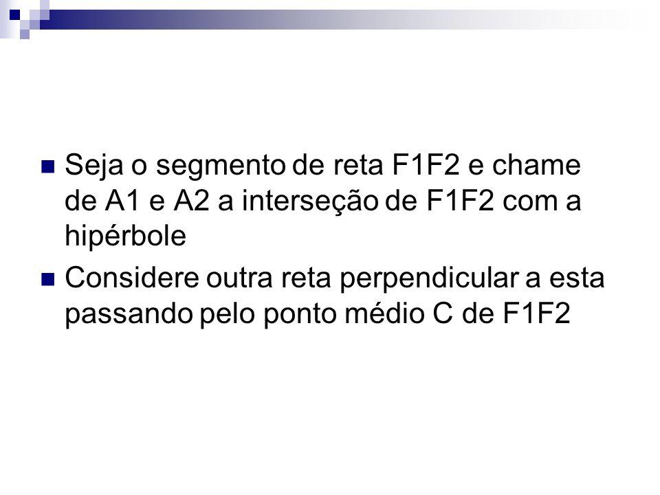 Seja o segmento de reta F1F2 e chame de A1 e A2 a interseção de F1F2 com a hipérbole Considere outra reta perpendicular a esta passando pelo ponto méd
