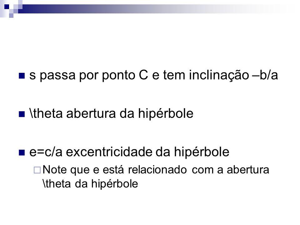 s passa por ponto C e tem inclinação –b/a \theta abertura da hipérbole e=c/a excentricidade da hipérbole Note que e está relacionado com a abertura \t