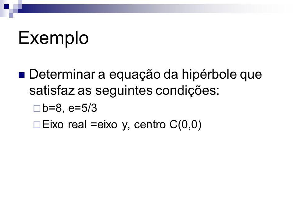 Exemplo Determinar a equação da hipérbole que satisfaz as seguintes condições: b=8, e=5/3 Eixo real =eixo y, centro C(0,0)