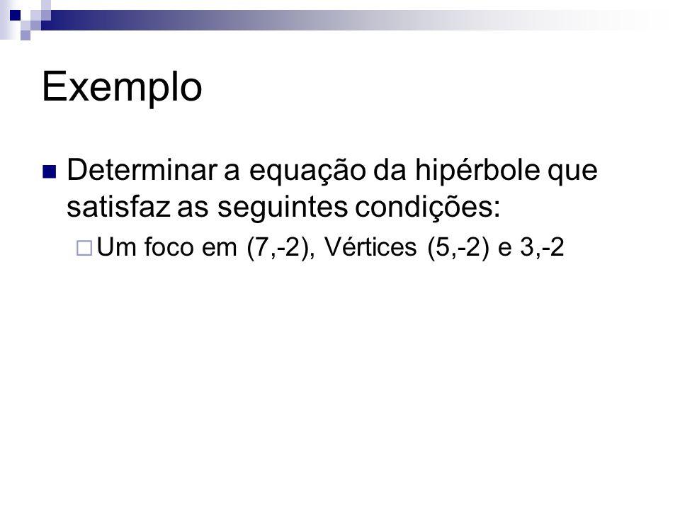 Exemplo Determinar a equação da hipérbole que satisfaz as seguintes condições: Um foco em (7,-2), Vértices (5,-2) e 3,-2