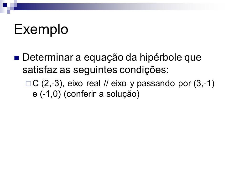 Exemplo Determinar a equação da hipérbole que satisfaz as seguintes condições: C (2,-3), eixo real // eixo y passando por (3,-1) e (-1,0) (conferir a