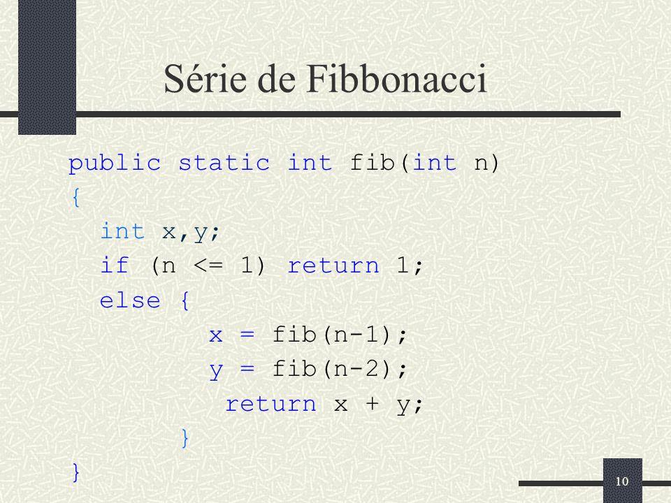 10 Série de Fibbonacci public static int fib(int n) { int x,y; if (n <= 1) return 1; else { x = fib(n-1); y = fib(n-2); return x + y; }
