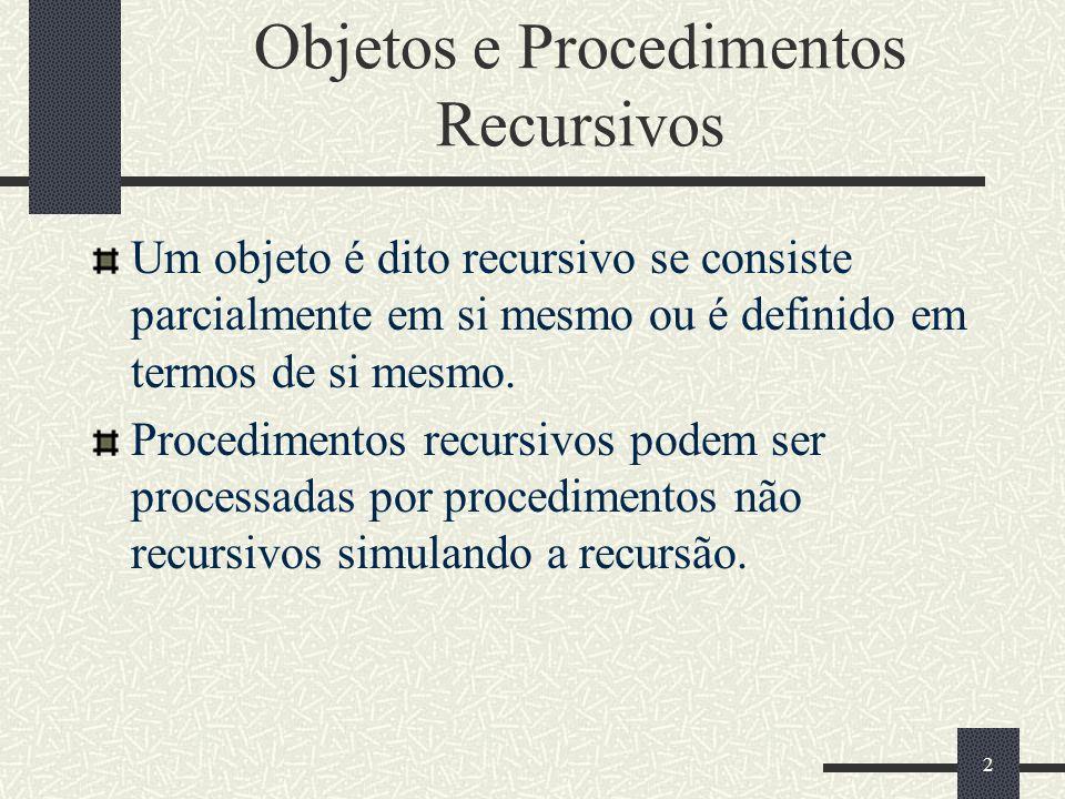 2 Objetos e Procedimentos Recursivos Um objeto é dito recursivo se consiste parcialmente em si mesmo ou é definido em termos de si mesmo. Procedimento