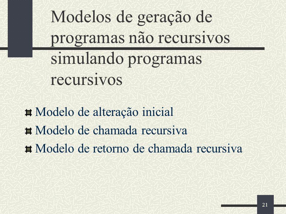 21 Modelos de geração de programas não recursivos simulando programas recursivos Modelo de alteração inicial Modelo de chamada recursiva Modelo de ret