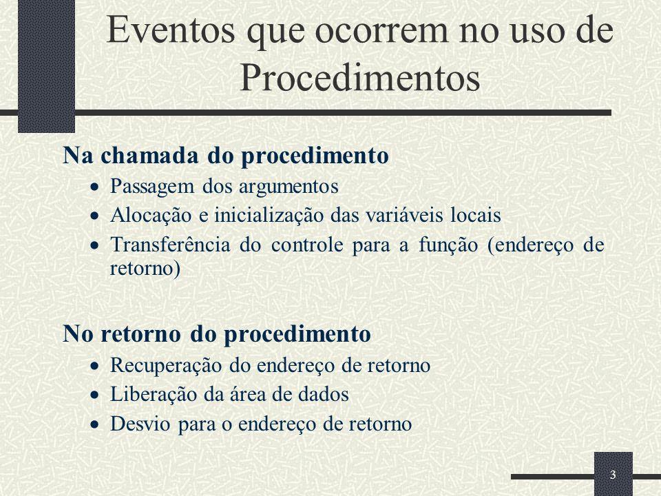 3 Eventos que ocorrem no uso de Procedimentos Na chamada do procedimento Passagem dos argumentos Alocação e inicialização das variáveis locais Transfe