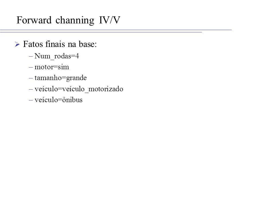 Forward channing IV/V Fatos finais na base: –Num_rodas=4 –motor=sim –tamanho=grande –veículo=veículo_motorizado –veículo=ônibus