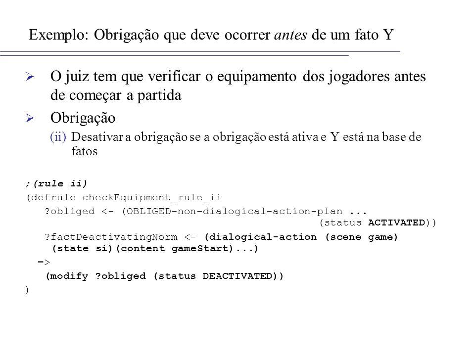 Exemplo: Obrigação que deve ocorrer antes de um fato Y O juiz tem que verificar o equipamento dos jogadores antes de começar a partida Obrigação (ii)D