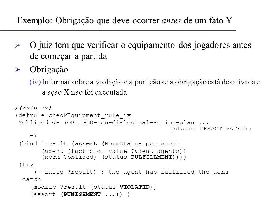 Exemplo: Obrigação que deve ocorrer antes de um fato Y O juiz tem que verificar o equipamento dos jogadores antes de começar a partida Obrigação (iv)I