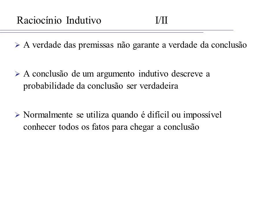 Raciocínio IndutivoI/II A verdade das premissas não garante a verdade da conclusão A conclusão de um argumento indutivo descreve a probabilidade da co
