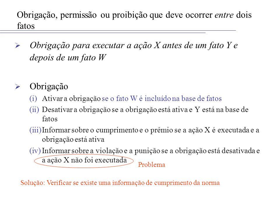 Obrigação, permissão ou proibição que deve ocorrer entre dois fatos Obrigação para executar a ação X antes de um fato Y e depois de um fato W Obrigaçã