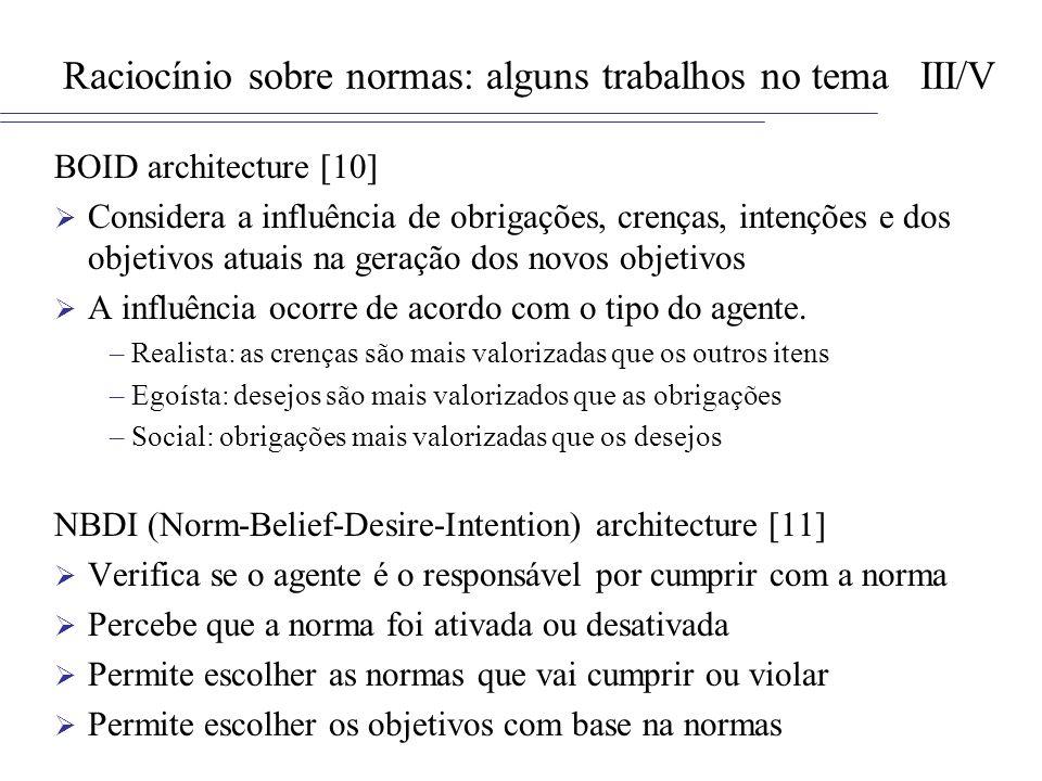 Raciocínio sobre normas: alguns trabalhos no tema III/V BOID architecture [10] Considera a influência de obrigações, crenças, intenções e dos objetivo