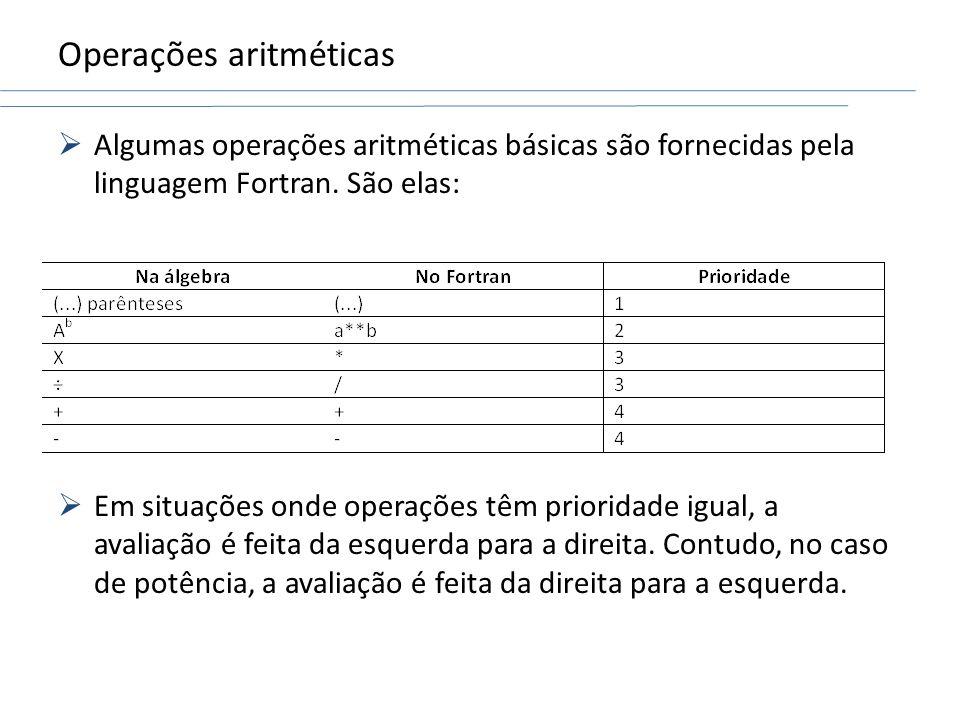 Operações aritméticas Algumas operações aritméticas básicas são fornecidas pela linguagem Fortran. São elas: Em situações onde operações têm prioridad