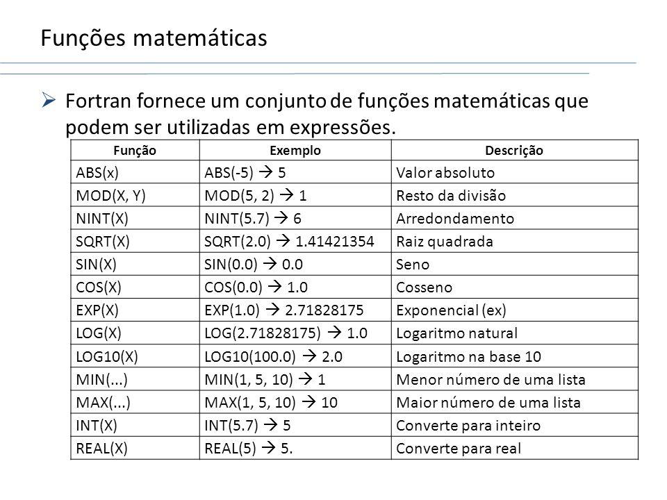 Funções matemáticas Fortran fornece um conjunto de funções matemáticas que podem ser utilizadas em expressões. FunçãoExemploDescrição ABS(x) ABS(-5) 5