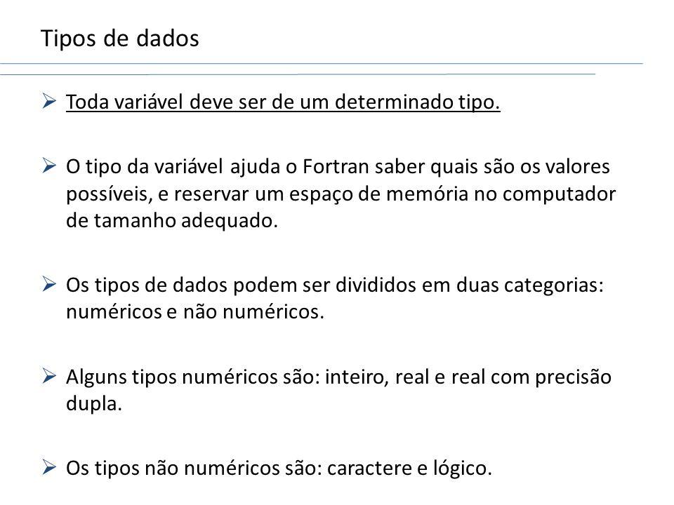 Tipos de dados Toda variável deve ser de um determinado tipo. O tipo da variável ajuda o Fortran saber quais são os valores possíveis, e reservar um e