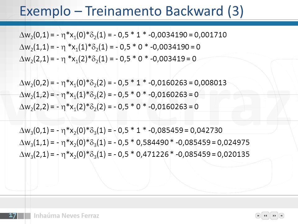 w 2 (0,1) = - *x 1 (0)* 2 (1) = - 0,5 * 1 * -0,0034190 = 0,001710 w 2 (1,1) = - *x 1 (1)* 2 (1) = - 0,5 * 0 * -0,0034190 = 0 w 2 (2,1) = - *x 1 (2)* 2