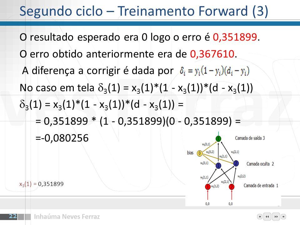 O resultado esperado era 0 logo o erro é 0,351899. O erro obtido anteriormente era de 0,367610. A diferença a corrigir é dada por No caso em tela 3 (1