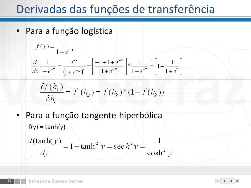 Derivadas das funções de transferência Para a função logística Para a função tangente hiperbólica f(y) = tanh(y) 8