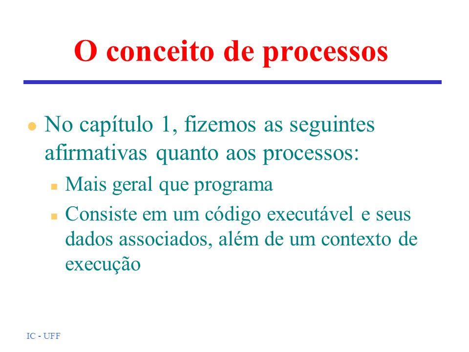 IC - UFF O conceito de processos l No capítulo 1, fizemos as seguintes afirmativas quanto aos processos: n Mais geral que programa n Consiste em um có