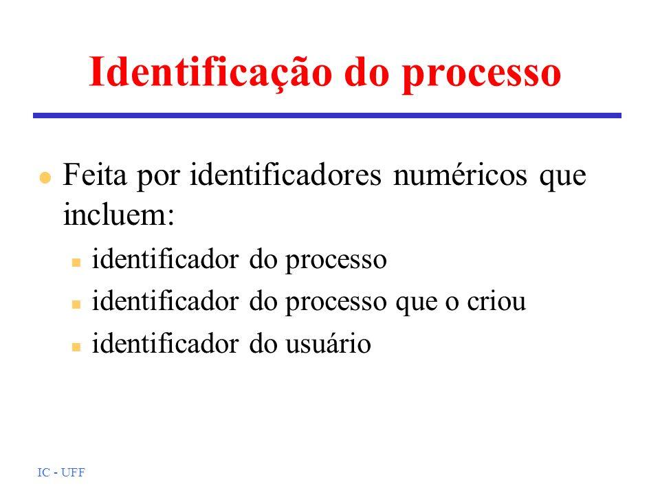 IC - UFF Identificação do processo l Feita por identificadores numéricos que incluem: n identificador do processo n identificador do processo que o cr